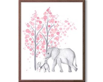 Mom and Baby Elephant Print, Baby Girl Nursery Decor, Pink and Gray Nursery, New Baby Gift Baby Girl, Animal Wall Art - E2401