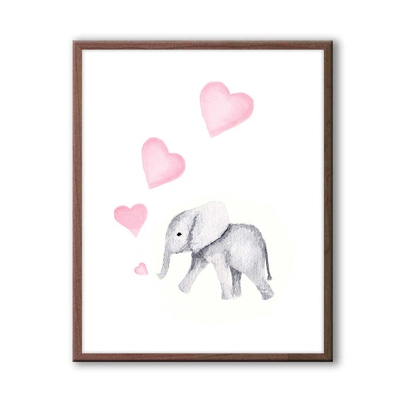 Pink And Gray Nursery Art Elephant Nursery Decor Baby Girl