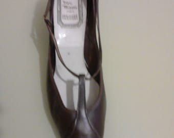 shoes brown leather 60's