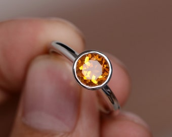 Natural Citrine Ring Bezel Ring Promise Ring Sterling Sivler Ring Gold Vermeil Ring Engagement Ring