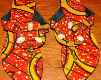 African Print Sandles with Cowrie Shells