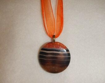 Orange-Black Striped Agate pendant (JO257)