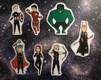 Avengers sticker Set - Captain America, Iron man, Thor, Hulk, Black Widow, Hawkeye, Loki