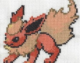 Flareon Pokemon Cross Stitch Pattern