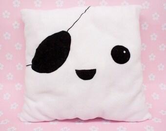 Unique Handmade Kawaii Pirate Tofu Pillow made from Fleece Fabric