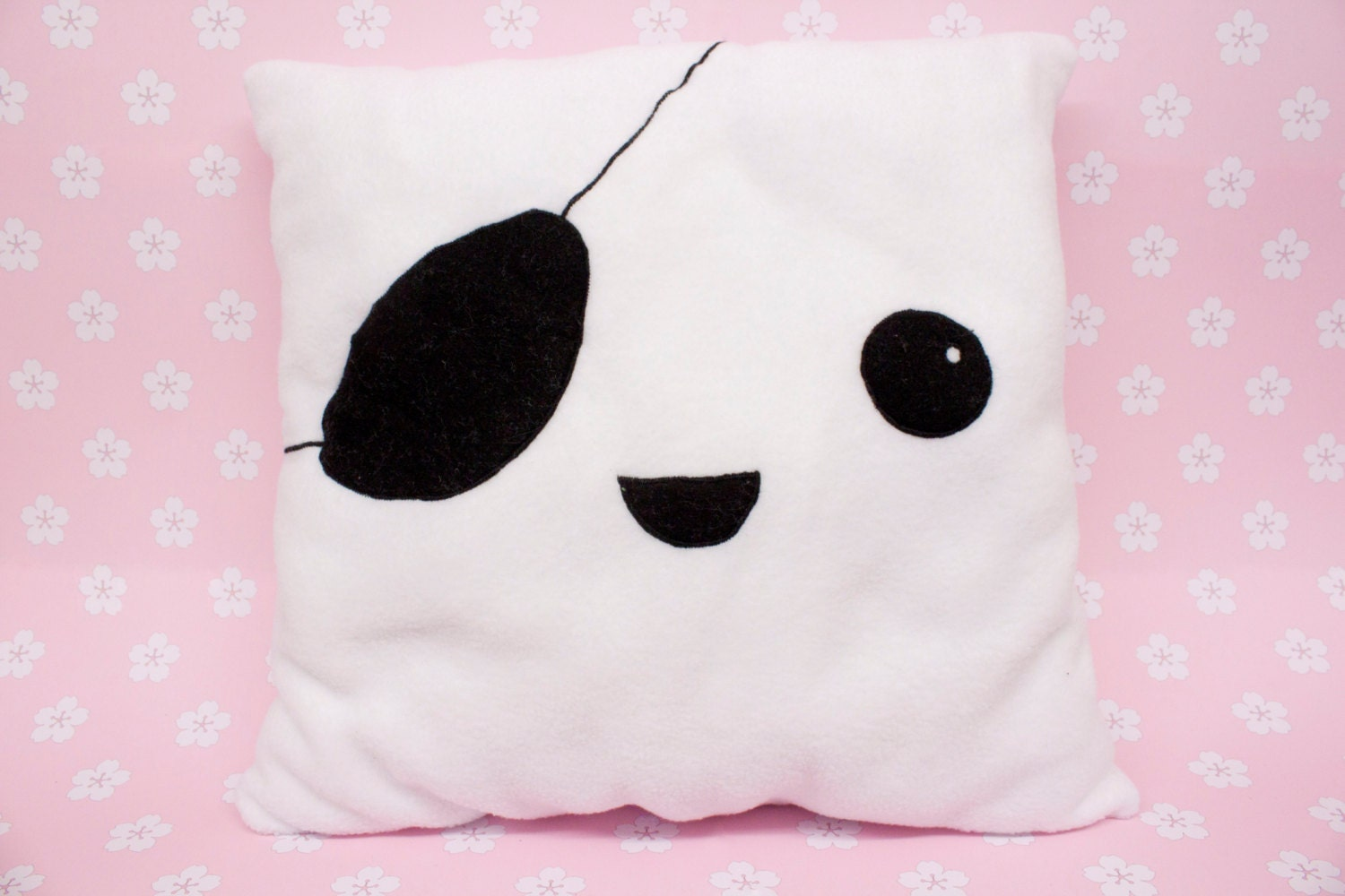 Cute Tofu Pillow : Unique Handmade Kawaii Pirate Tofu Pillow made from Fleece