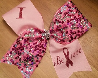 I believe breast cancer awareness cheer bow