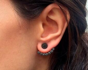 Black CZ stone Ear jacket Earrings // Same Day SHIPPING // Minimalist Ear Jacket   / Fashion Ear Jacket / Mother's Day Gift
