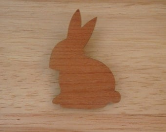 Sweet wooden rabbit brooch