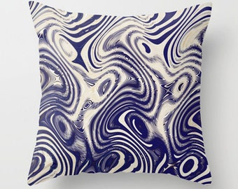 Cream & Blue Throw Pillow Cover-Indoor/Outdoor Pillow-14x14-16x16-18x18-14x20-20x20-26x26-Funky-Modern-Bold Sofa Accent Pillow-Rectangular
