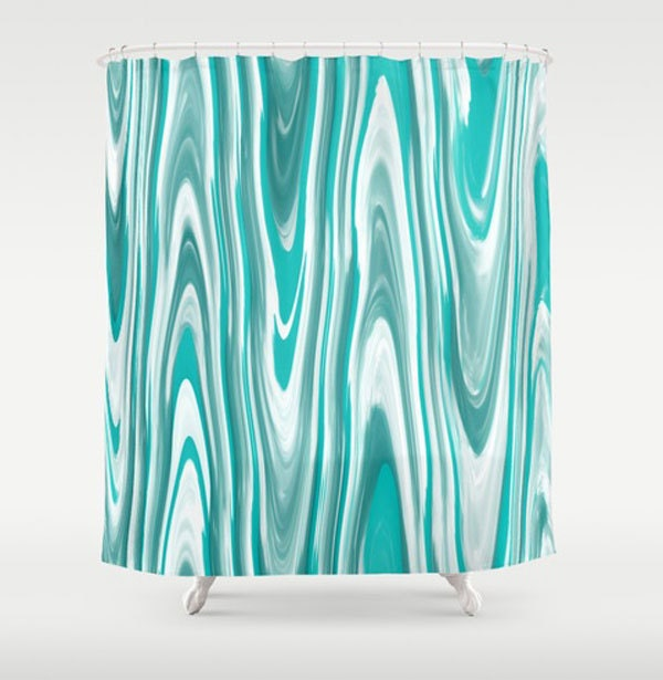 Teal White Shower Curtain Teal Gray Bath Curtain Modern Bath