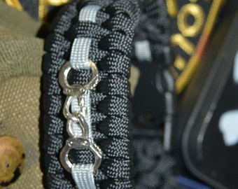 Corrections Officer Thin Silver Line 550 Paracord Bracelet with Hidden Handcuff Key THE BACKUP