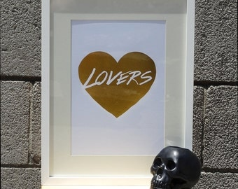 Gold Lovers Print, Heart Wall Art, Gold Print, Wall Art, Gold Heart Wall Print