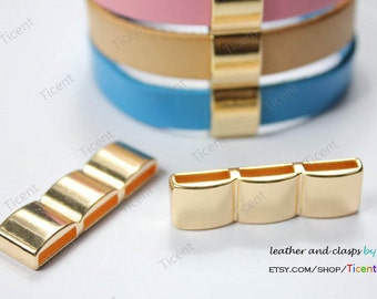 2pcs Quality-Gold Seperator, 3 Lines Seperator for 10mm Leather Bracelet