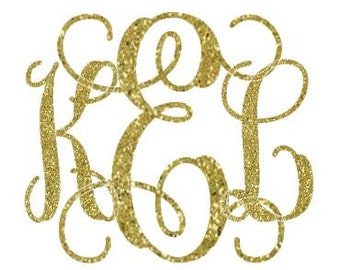 Personalized Glitter Monogram Decals - Various Shapes, Colors, Fonts - Great Valentine's Day Gift!