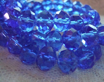 10x8mm Medium Cobalt Rondelles. 24pc. Beautiful, Translucent, Royal Blue Faceted Cut Glass Beads. Permanent Color.~USPS Ship Rates/Oregon
