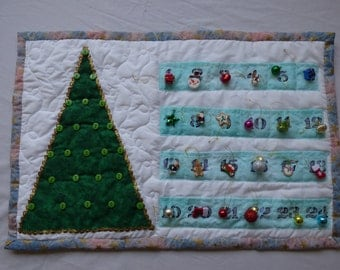 Handmade Advent calender with ornaments and buttons hangers