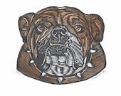 Bully   Bulldog Woodblock Print