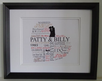 Personalized Wedding Print for Bride and Groom/Anniversary Print