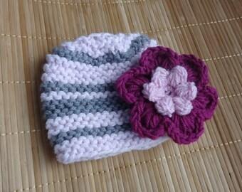 Baby Hat, Baby Girl Hat Newborn Hat Photo Prop, Baby Knit Hat Girl Knit Hat, Infant Hat Newborn Baby Girl Hat, Flower Newborn Hat,