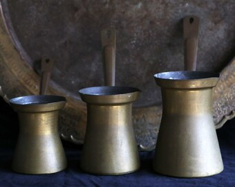 Vintage Egyptian brass coffee pots-in 6,7,8 sizes