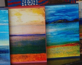 Set of 4 Colourful Art Greeting Cards / Note cards from Original Abstract Painting 'Beaches' by Gigi Joel - Blank inside