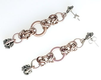 Handcrafted Copper & Pewter Long Chainmaille Medieval Renaissance Post Earrings Chain Mail Hanan Hall Maillewerks Gift Jewelry Jewellery