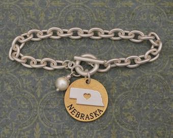 Nebraska Love Toggle Bracelet with Pearl Accent - 22712