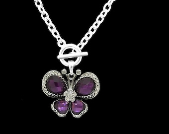 Purple Butterfly Toggle Necklace