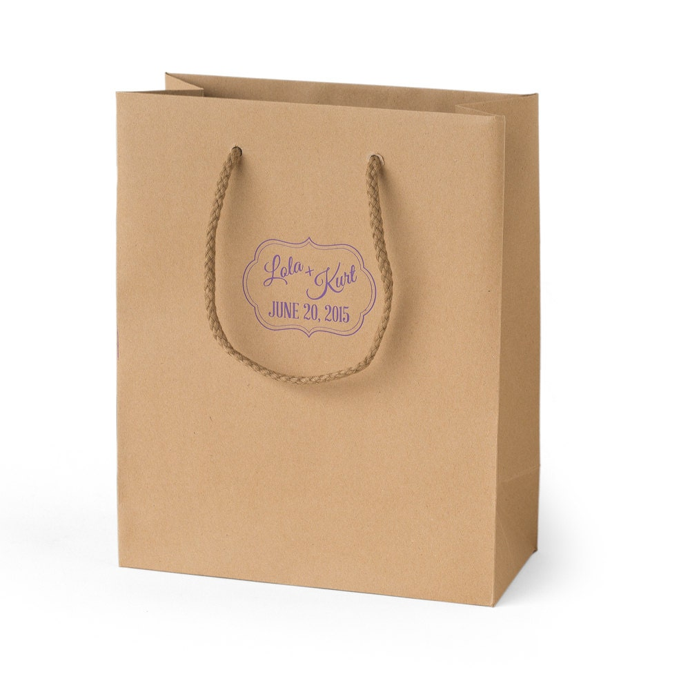 Personalized Wedding Gift Bags: Personalized Wedding Gift Bags Set Of 35 Kraft Custom Made