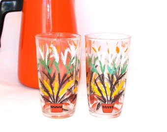 Vintage Plant in Planter Glasses - Set of Two