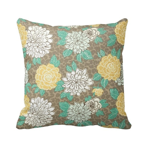 Throw Pillow With Zipper : Zippered OUTDOOR Floral Throw Pillow Cover Taupe Teal