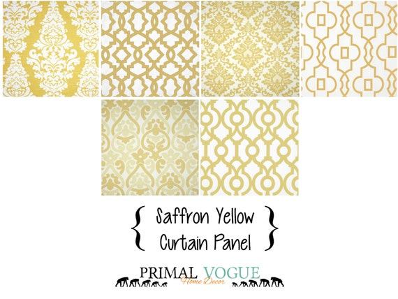 Saffron Yellow Curtain Panel with Rod Pocket - Sunny Pale Yellow ...