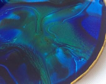 """Blue and Green Swirled Art Plate 4.5"""""""