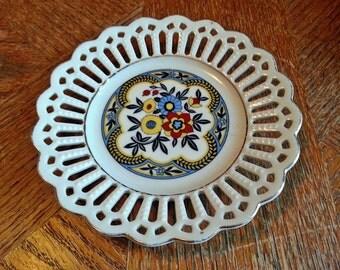 Vintage Bavaria Schaumann Small Pierced Porcelain Plate