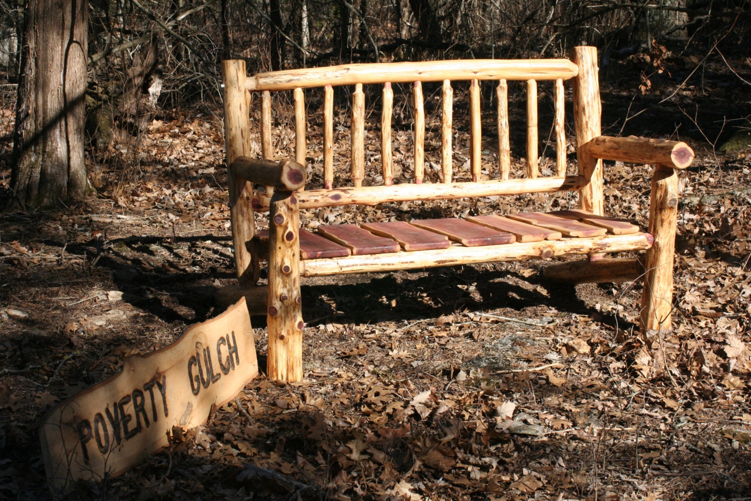 4 Foot Rustic Log Adirondack Style Patio Bench By Povertygulch