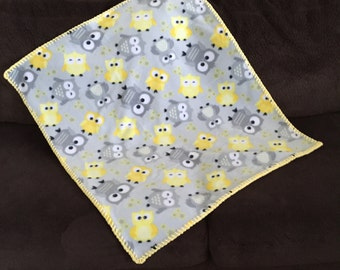 Handmade Baby Blanket With Multi Colored Owls in Yellow and Greys