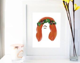 Flower Crown Art Print- Eva