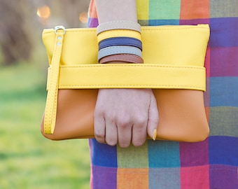 "Yellow purse ""CarryMe"", orange clutch, vegan leather wristlet purse, orange purse, yellow clutch, vegan purse, crossbody purse, yellow bag"