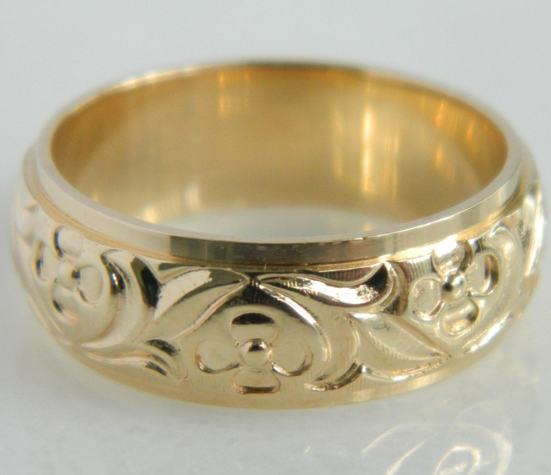 vintage 14k gold floral art carved wedding band