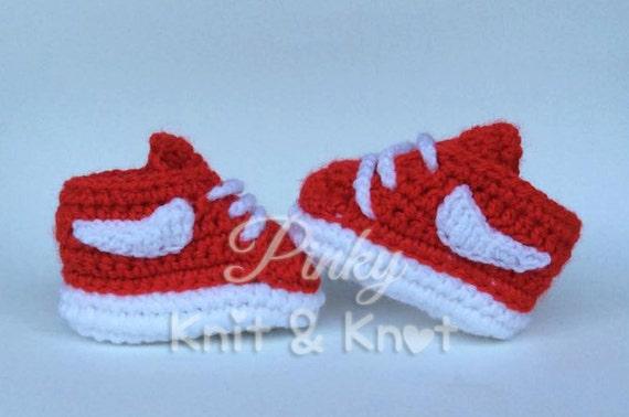 Crochet Patterns For Children s Shoes : Baby sneaker Nike crochet Nike crochet inspired by ...