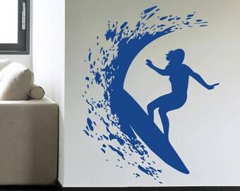 Surfer Girl Surfing Surf Wall Decal Art Decor Sticker Sign Vinyl surfing decal surf decor surfer decor surfer art surf wall decals