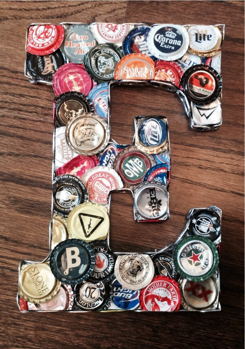 Unique craft beer bottle cap letters and signs for Cool beer cap ideas