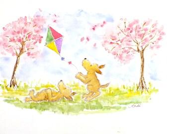 Puppy Kite Flying Original signed watercolor watercolour painting nursery art fantasy animal wildlife illustration