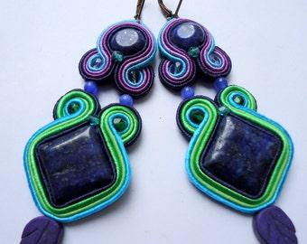 Soutache Earrings Purple - Green