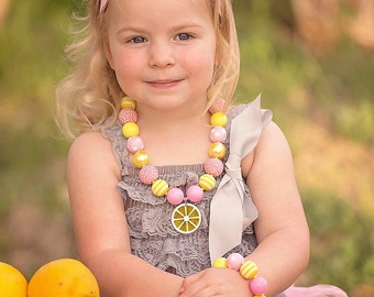 Toddler Pink Lemonade Necklace and Bracelet Set, Toddler Necklace and Bracelet Set, Baby Necklace, Pink and Yellow, Chunky Bracelet