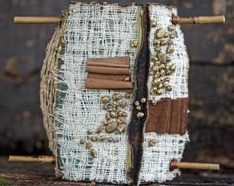 "Textile sculpture, Textile art, Soft sculpture ,""Seeds"" in white, brown, gold"