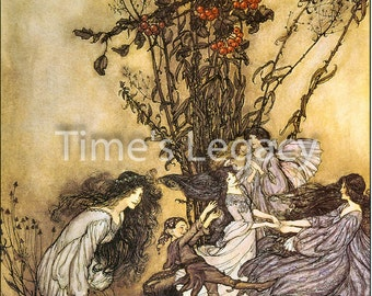 Digital Image Dancing With The Fairies Arthur Rackham 1906 Vintage Fairies Fairy Children Fantasy Digital Download