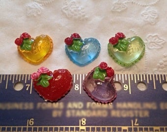 5 Hearts with roses, Resin Flatbacks, Cabochons; for crafting, scrapbooking, bow making, phone decoration, etc.
