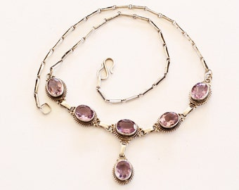 Vintage Sterling Silver Lilac Amethyst Necklace